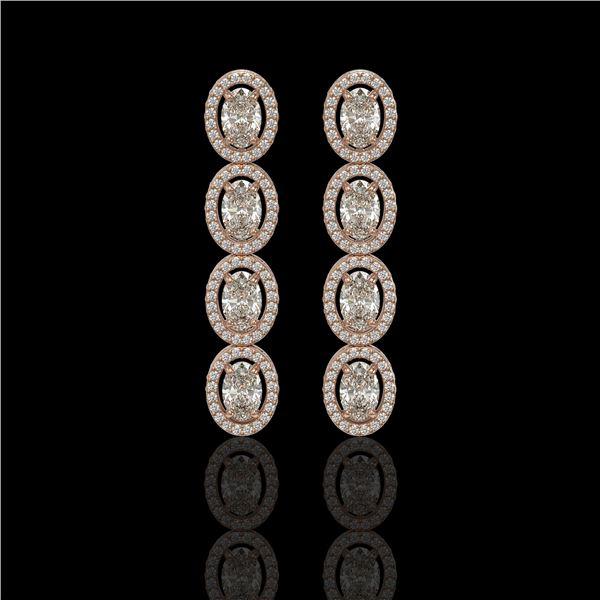 5.33 ctw Oval Cut Diamond Micro Pave Earrings 18K Rose Gold - REF-736G8W
