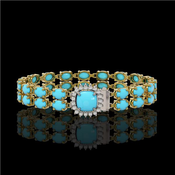 13.37 ctw Turquoise & Diamond Bracelet 14K Yellow Gold - REF-245H5R