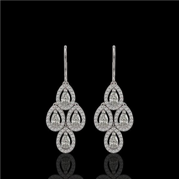 3.07 ctw Pear Cut Diamond Micro Pave Earrings 18K White Gold - REF-269K2Y