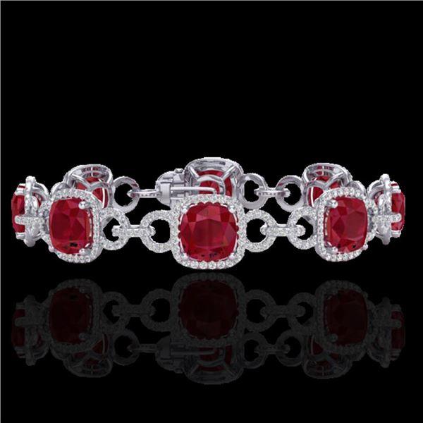 25 ctw Ruby & Micro VS/SI Diamond Certified Bracelet 14k White Gold - REF-457H3R