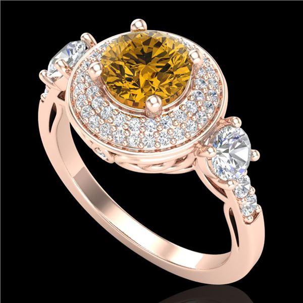 2.05 ctw Intense Fancy Yellow Diamond Art Deco Ring 18k Rose Gold - REF-345K5Y