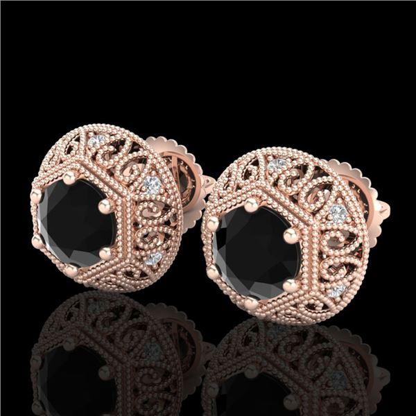 1.31 ctw Fancy Black Diamond Art Deco Stud Earrings 18k Rose Gold - REF-81A8N