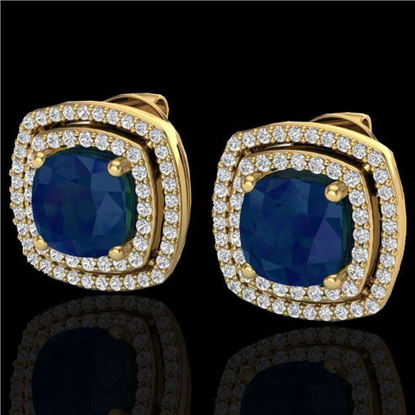4.95 ctw Sapphire & Micro Pave VS/SI Diamond Earrings 18k Yellow Gold - REF-125H5R