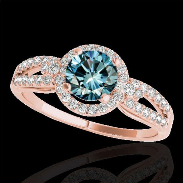 1.25 ctw SI Certified Fancy Blue Diamond Halo Ring 10k Rose Gold - REF-121G4W