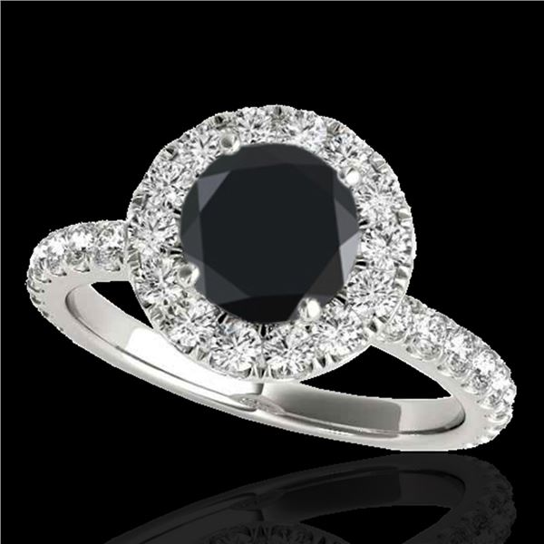 1.75 ctw Certified VS Black Diamond Solitaire Halo Ring 10k White Gold - REF-62M2G