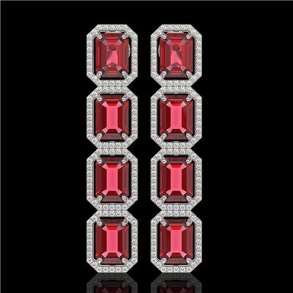 19.44 ctw Tourmaline & Diamond Micro Pave Halo Earrings 10k White Gold - REF-636R4K