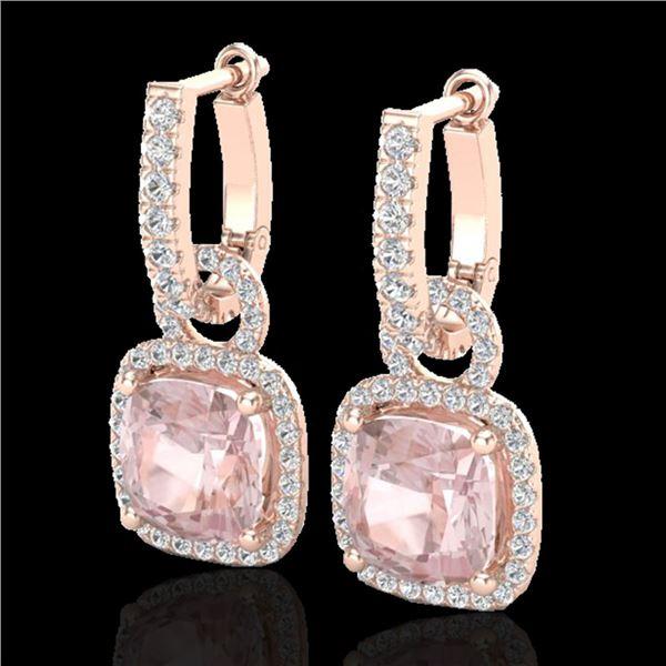 5.50 ctw Morganite & Micro Pave VS/SI Diamond Earrings 14k Rose Gold - REF-152Y8X