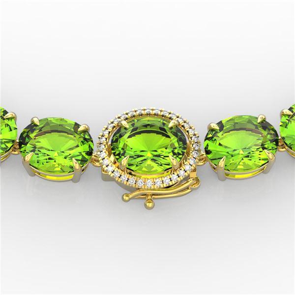 148 ctw Peridot & VS/SI Diamond Halo Micro Necklace 14k Yellow Gold - REF-890H9R