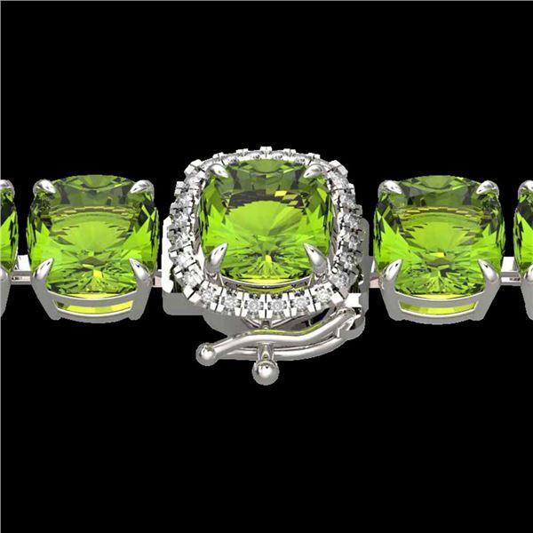 40 ctw Peridot & Micro VS/SI Diamond Bracelet 14k White Gold - REF-259X8A