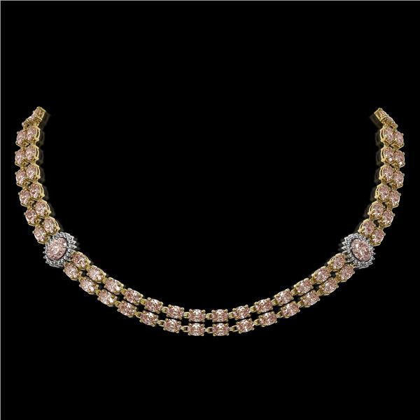 36.2 ctw Morganite & Diamond Necklace 14K Yellow Gold - REF-527R3K