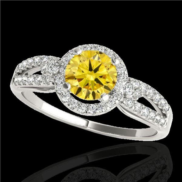 1.25 ctw Certified SI/I Fancy Intense Yellow Diamond Ring 10k White Gold - REF-190X9A