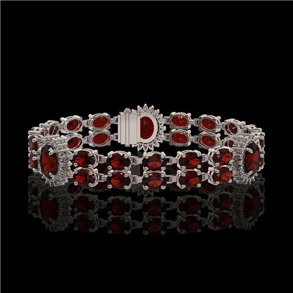 16.47 ctw Garnet & Diamond Bracelet 14K White Gold - REF-254W5H