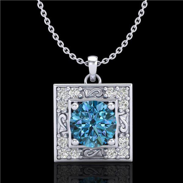 1.02 ctw Fancy Intense Blue Diamond Art Deco Necklace 18k White Gold - REF-125M5G