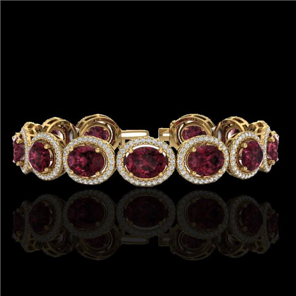 27 ctw Garnet & Micro Pave VS/SI Diamond Certified Bracelet 10k Yellow Gold - REF-360Y2X