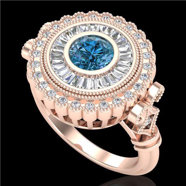2.03 ctw Fancy Intense Blue Diamond Art Deco Ring 18k Rose Gold - REF-245F5M