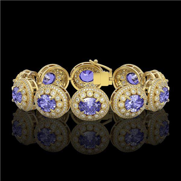 50.27 ctw Tanzanite & Diamond Victorian Bracelet 14K Yellow Gold - REF-1704R4K