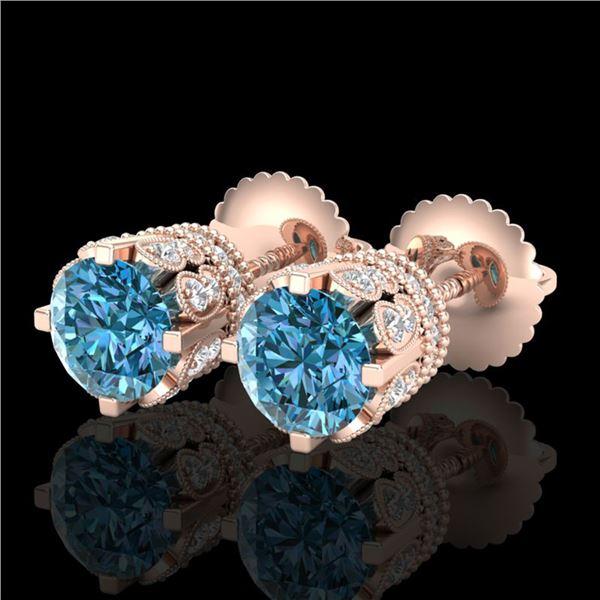 3 ctw Fancy Intense Blue Diamond Art Deco Earrings 18k Rose Gold - REF-349W3H
