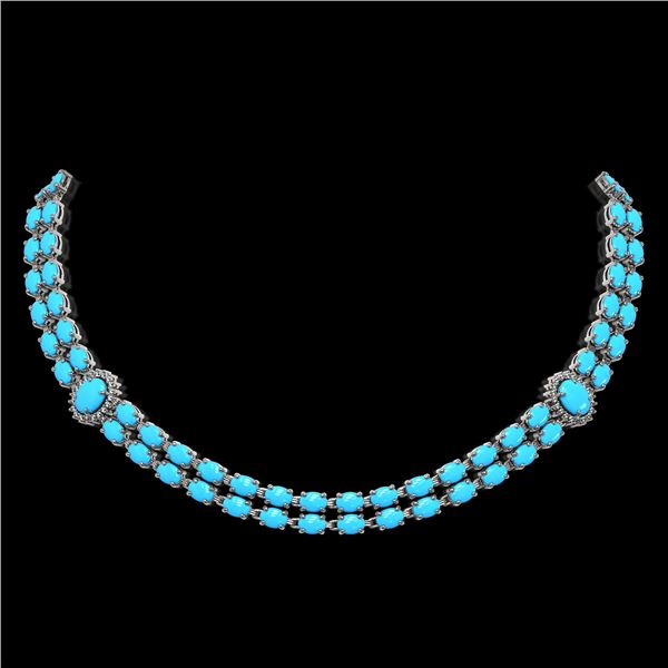 29.16 ctw Turquoise & Diamond Necklace 14K White Gold - REF-454A5N