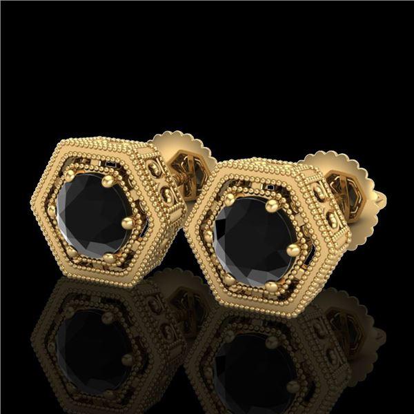 1.07 ctw Fancy Black Diamond Art Deco Stud Earrings 18k Yellow Gold - REF-73Y3X