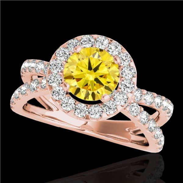 2.01 ctw Certified SI/I Fancy Intense Yellow Diamond Ring 10k Rose Gold - REF-218N2F