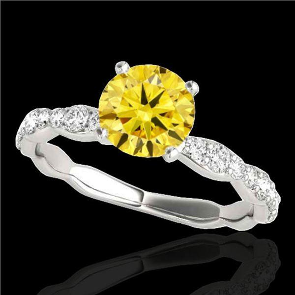 1.4 ctw Certified SI/I Fancy Intense Yellow Diamond Ring 10k White Gold - REF-177X3A