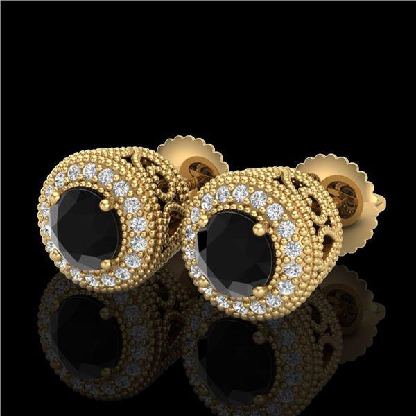 1.55 ctw Fancy Black Diamond Art Deco Stud Earrings 18k Yellow Gold - REF-103F6M