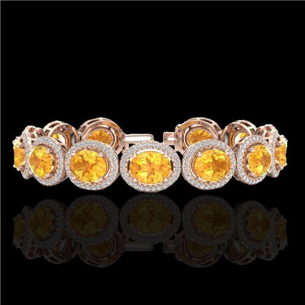 24 ctw Citrine & Micro Pave VS/SI Diamond Bracelet 10k Rose Gold - REF-360H2R