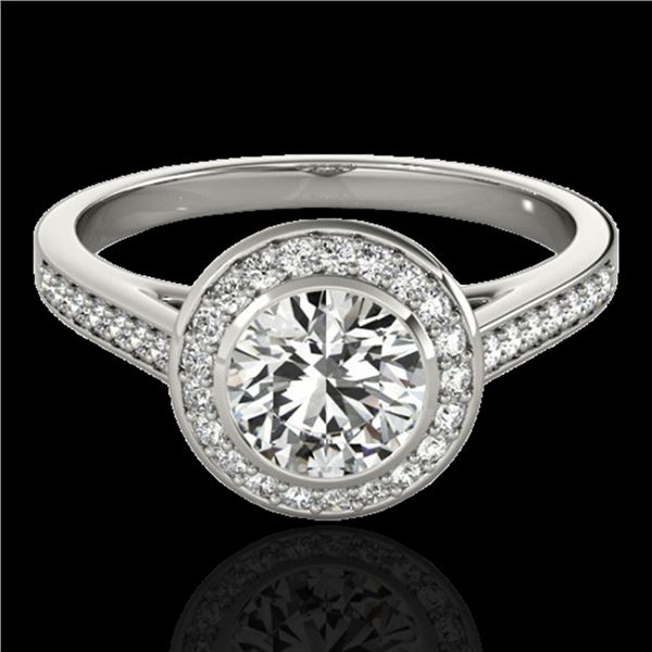 1.3 ctw Certified Diamond Solitaire Halo Ring 10k White Gold - REF-197M8G