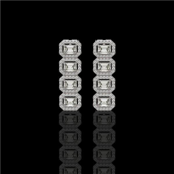 3.84 ctw Emerald Cut Diamond Micro Pave Earrings 18K White Gold - REF-459G8W