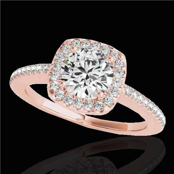 1.25 ctw Certified Diamond Solitaire Halo Ring 10k Rose Gold - REF-190M9G