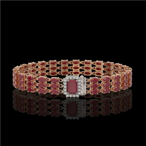 28.74 ctw Ruby & Diamond Bracelet 14K Rose Gold - REF-318W2H