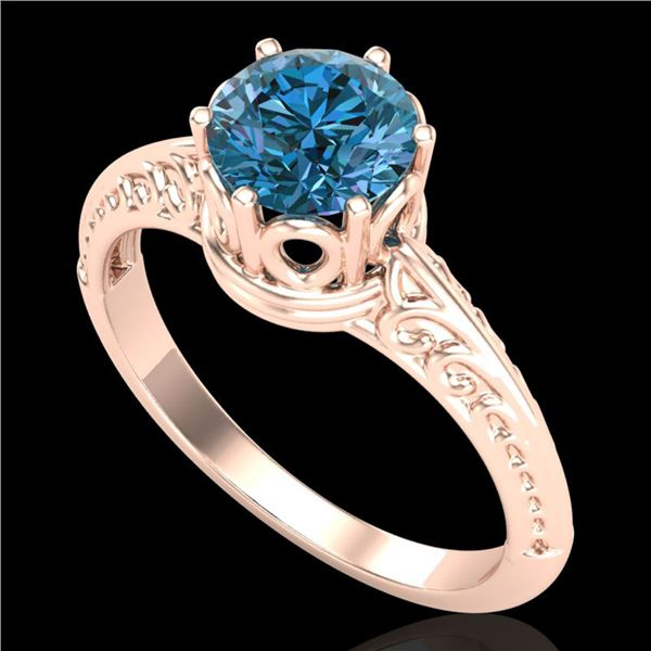 1 ctw Intense Blue Diamond Engagment Art Deco Ring 18k Rose Gold - REF-180H2R