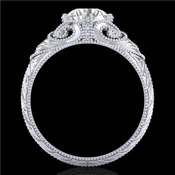 1 ctw VS/SI Diamond Solitaire Art Deco Ring 18k White Gold - REF-315H2R