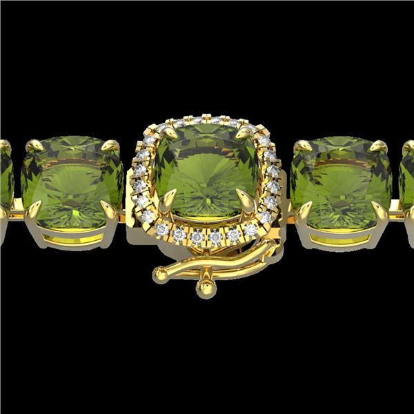 40 ctw Green Tourmaline & Micro Diamond Bracelet 14k Yellow Gold - REF-404K4Y