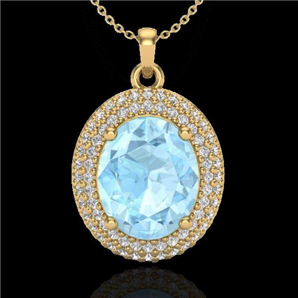 4 ctw Aquamarine & Micro Pave VS/SI Diamond Necklace 18k Yellow Gold - REF-122K8Y
