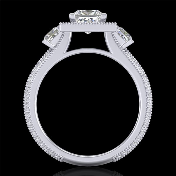 2.5 ctw Princess VS/SI Diamond Micro Pave 3 Stone Ring 18k White Gold - REF-527R3K