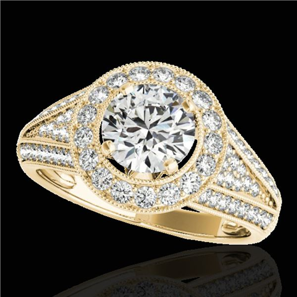 1.7 ctw Certified Diamond Solitaire Halo Ring 10k Yellow Gold - REF-225G2W