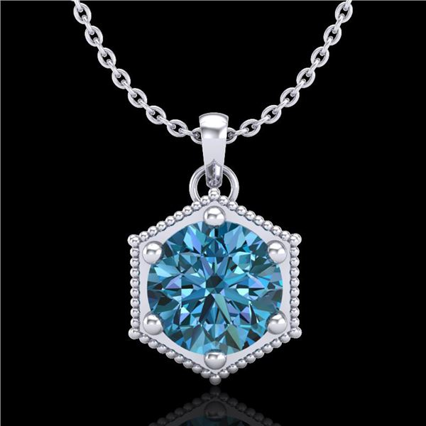 0.82 ctw Fancy Intense Blue Diamond Art Deco Necklace 18k White Gold - REF-114R5K