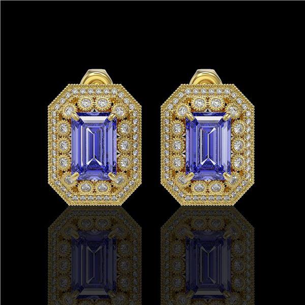 11.25 ctw Tanzanite & Diamond Victorian Earrings 14K Yellow Gold - REF-672H8R