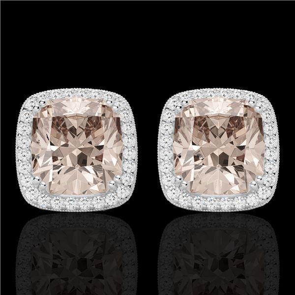 6 ctw Morganite & Micro Pave VS/SI Diamond Earrings 18k White Gold - REF-117H3R
