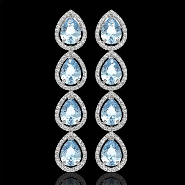 10.56 ctw Aquamarine & Diamond Micro Pave Halo Earrings 10k White Gold - REF-228M8G