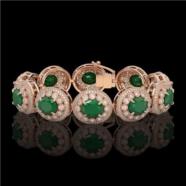 49.17 ctw Emerald & Diamond Victorian Bracelet 14K Rose Gold - REF-1404A4N