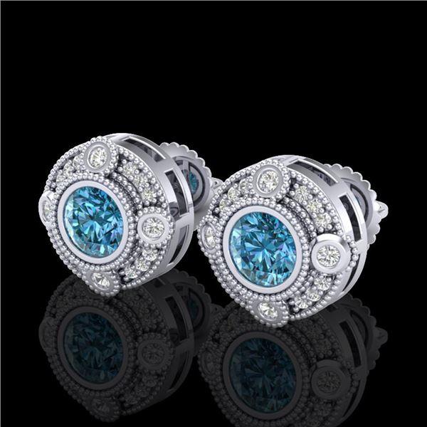 1.5 ctw Fancy Intense Blue Diamond Art Deco Earrings 18k White Gold - REF-178W2H