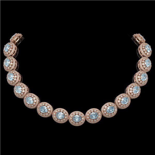90.5 ctw Aquamarine & Diamond Victorian Necklace 14K Rose Gold - REF-3020F2M