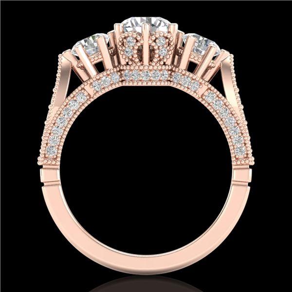 2.18 ctw VS/SI Diamond Art Deco 3 Stone Ring 18k Rose Gold - REF-244F5M