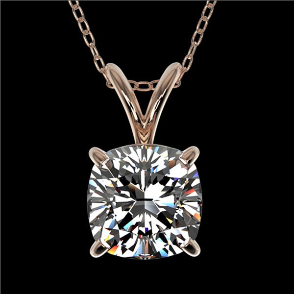 1 ctw Certified VS/SI Quality Cushion Cut Diamond Necklace 10k Rose Gold - REF-239X3A