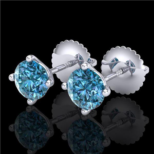 1.01 ctw Fancy Intense Blue Diamond Art Deco Earrings 18k White Gold - REF-75F2M