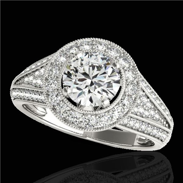 1.7 ctw Certified Diamond Solitaire Halo Ring 10k White Gold - REF-225A2N