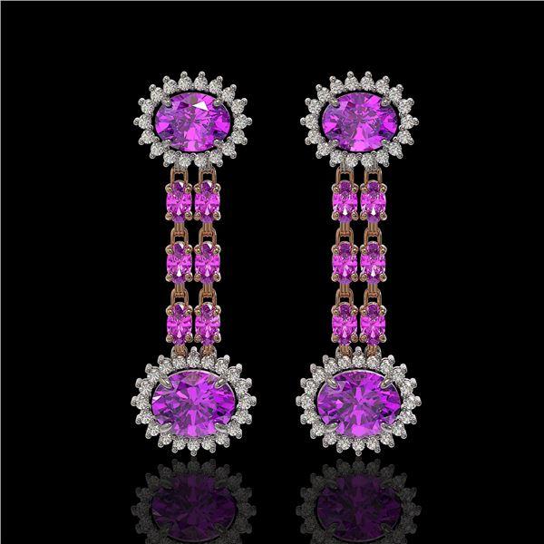 8.19 ctw Amethyst & Diamond Earrings 14K Rose Gold - REF-144W5H