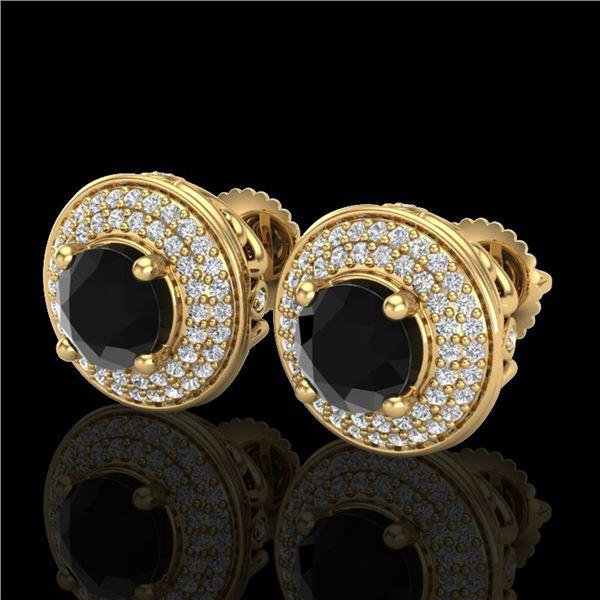 2.35 ctw Fancy Black Diamond Art Deco Stud Earrings 18k Yellow Gold - REF-167F3M